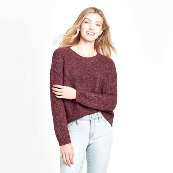 Knox Rose Knit Pointelle Sleeve Sweater Medium
